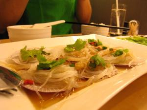 scallops steamed with garlic. . . .on artificial shells?